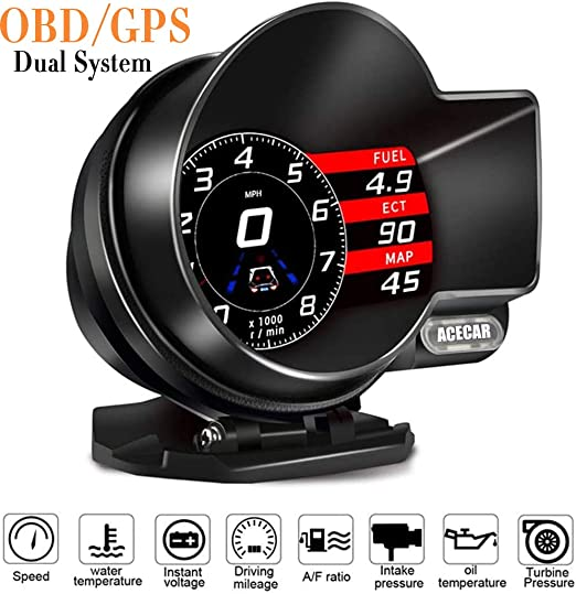 Head Up Display Universal Car Dual System HUD OBD2//GPS Smart Digital Meter Speedometer with Compass Test Brake Test Overspeed Alarm Fault Code Reader HD LCD Display for All Vehicle