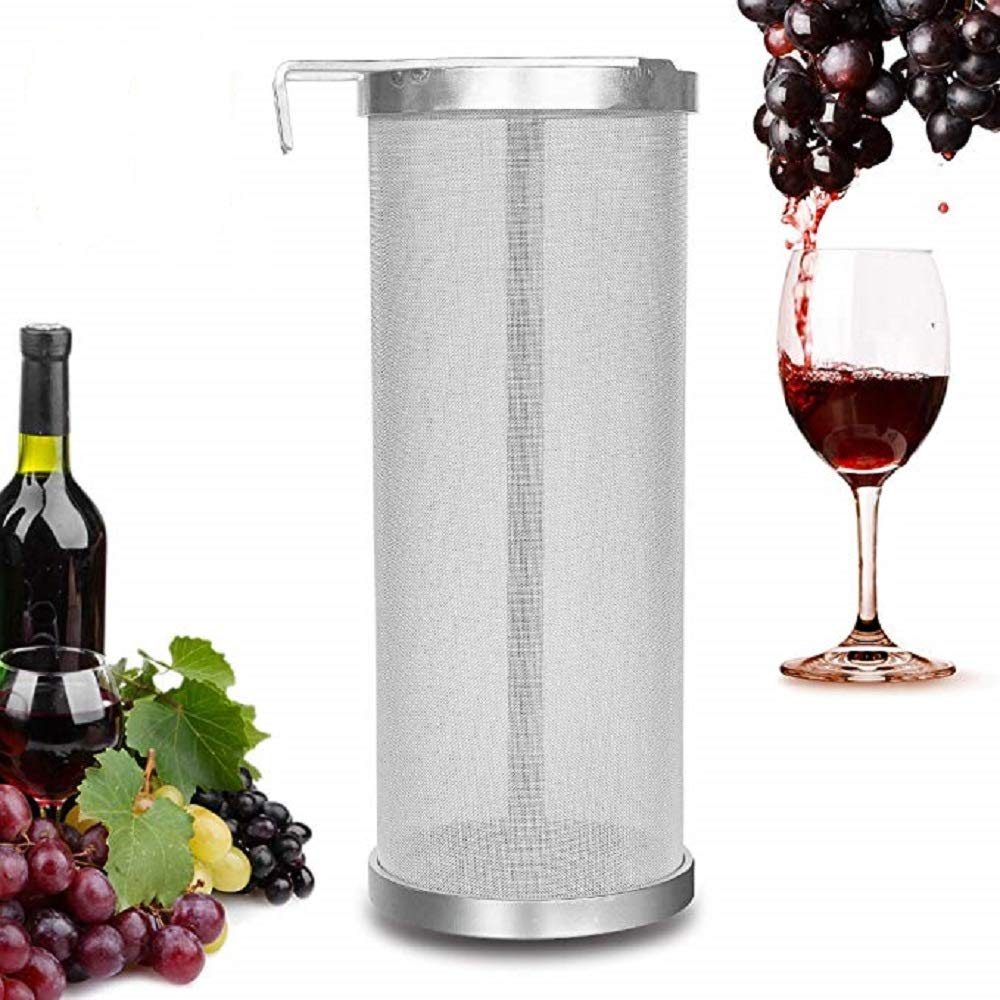 YUEWO Filter Brewing 6x14 Inch Hopper Strainer 304 Stainless Steel 300-400 Micron Mesh Homebrew Hops Beer & Tea Kettle Brew