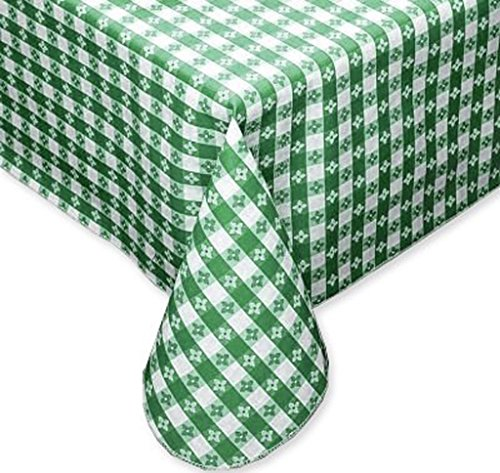 (Tavern Check Classic Restaurant Quality Flannel Back Vinyl Tablecloth, 52X70 Oval, Green & White)