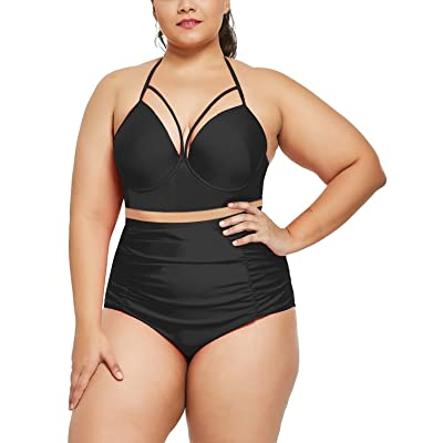 BALEAF Women's Plus Size Bikini Set High Waisted Swimsuit Fashion Tummy Control Bathing Suit: Clothing