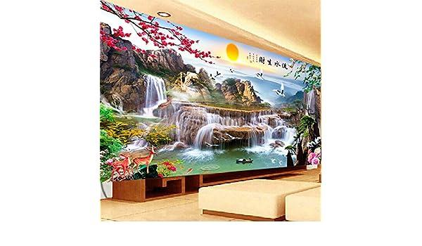 AIGUFENG Pinturas de paisajes de riqueza de agua acabados en punto de cruz hechos a mano Pinturas de gran tamaño de sala de estar de Suns Dongheng,190cm ...