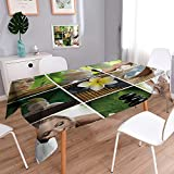 PRUNUSHOME Square Tablecloth Spa theme photo collage composed of different images Perfect for Spring, SuAMMer, Indoor, Outdoor Picnics or Everyday Use/52W x 70L Inch