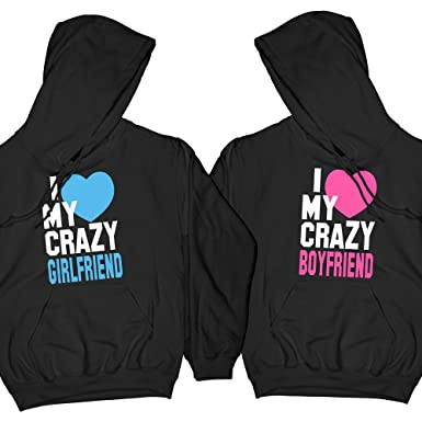 881ab4a136 I Love My Crazy Boyfriend & Girlfriend | Matching Couple Hoodies, His and  Her Hoodies