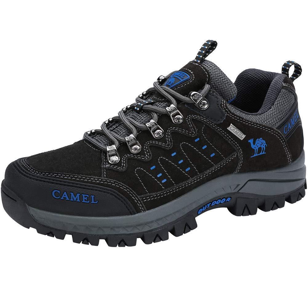 CAMEL CROWN Hiking Shoes Men Outdoor Non Slip Low Top Sneakers Unisex Trekking Walking Climbing Trainers Boots (Black,Dark Grey,6.5 UK)