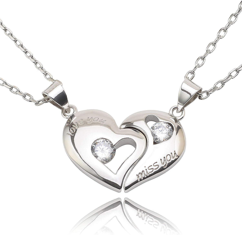 UK SILVER PLT CRYSTAL LOVE HEART NECKLACE Jewellery Gift Idea Wife Girlfriend