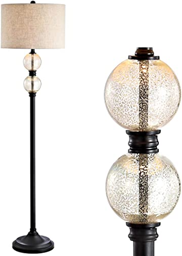 JONATHAN Y JYL1016A January 60″ Glass/Metal LED Floor Lamp Traditional