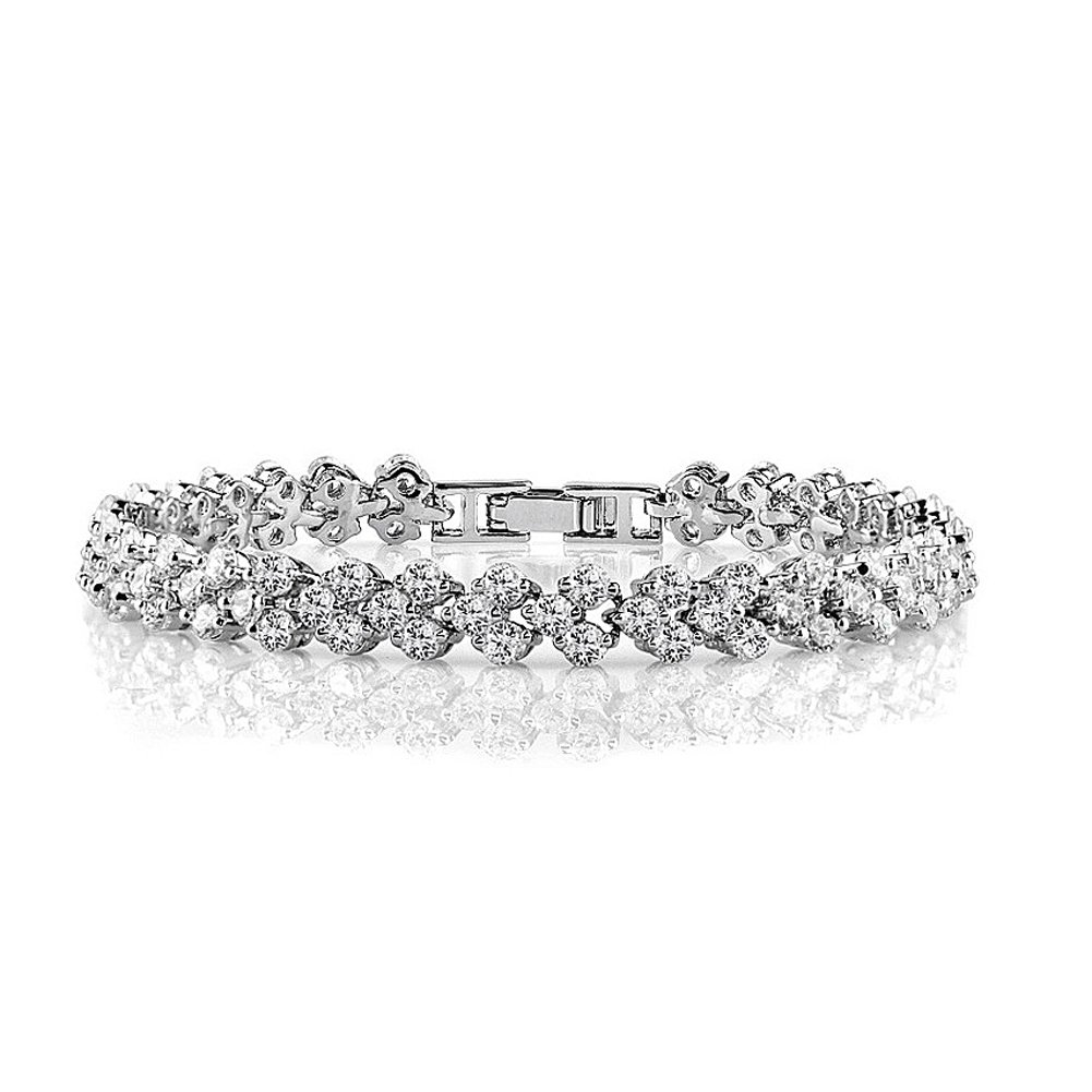 Acefeel White Gold Plated Full CZ Austrian Crystal Bridal Wedding Jewelry Tennis Bracelet For Women B057