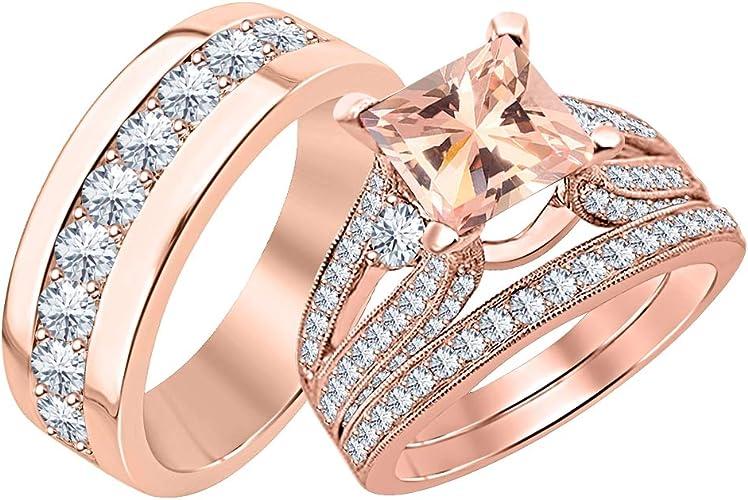 Amazon Com Tusakha Beautiful Wedding Halo Trio Ring Band Set