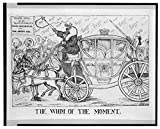 1789 Photo The whim of the moment Print shows a royal coach drawn by two horses ''Faith'' and ''Hope'' passing through a crowd to shouts of ''Huzza''; three figures are seated in the coach, one wearing a cr
