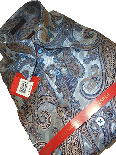 Paisley Taupe Collar (Leonardi 383 Mens Metallic Blue Taupe Paisley High Collar Clubbing Shirt (xlarge))