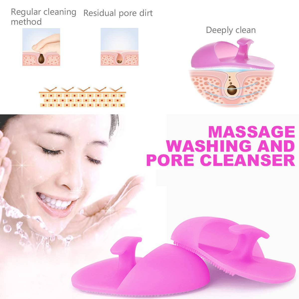 Silicone Face Scrubbers Exfoliator Brush,Facial Cleansing Brush Pad Blackhead Scrubber Exfoliating Brush Face Cleanser Brush Manual Facial Cleansing Brush Acne Blackheads Removing (4 Mix Color): Beauty