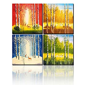 Springtime Summer Autumn Winter All Seasons Natural Landscape Print Canvas  Oil Paintings Without Frame For Living