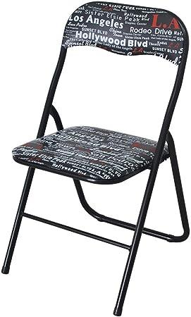 Plegables sillas de comedor, Silla plegable patrón del color sólido, sillas plegables, sillas plegables jardín interior, la superficie de cuero de la PU, resistente al desgaste y resistente al agua Y1: Amazon.es: