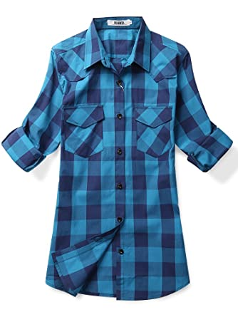 Women's Mid-Long Style Roll-Up Sleeve Plaid Flannel Shirt at ...