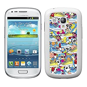 Funda carcasa para Samsung Galaxy S3 Mini estampado sticker bomb zapatillas borde blanco