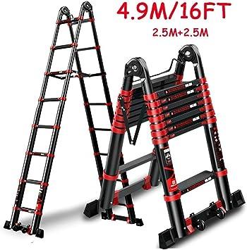ACZZ Escalera telescópica para ático/escaleras/carpa superior de techo/ caravana, escalera de extensión liviana de aluminio con ruedas/barra estabilizadora, carga 150 kg,2.5m + 2.5m: Amazon.es: Bricolaje y herramientas