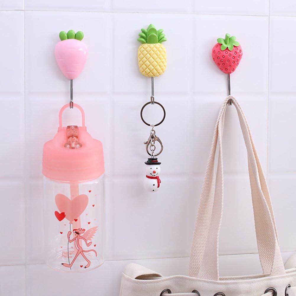 liuqingwind Creative Fruit Nail-Free Strong Adhesive Door Rear Hook Lovely Fruit Wall Door Bag Key Hat Hook Hanger Home Kitchen Bathroom Decoration Orange Carrot