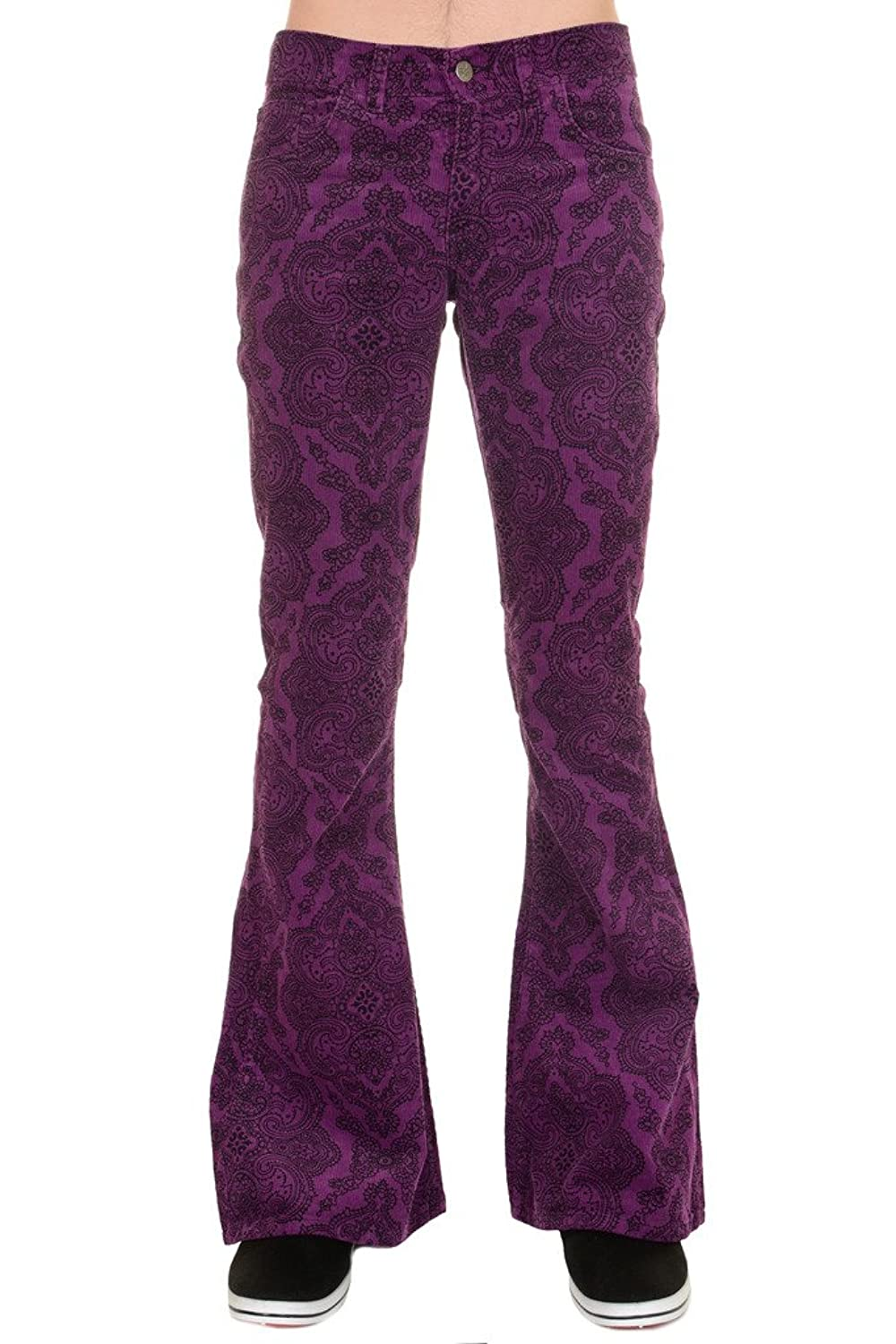 Retro Clothing for Men | Vintage Men's Fashion Run & Fly Mens 60s 70s Vintage Grape Paisely Corduroy Retro Bell Bottom Flares $54.95 AT vintagedancer.com