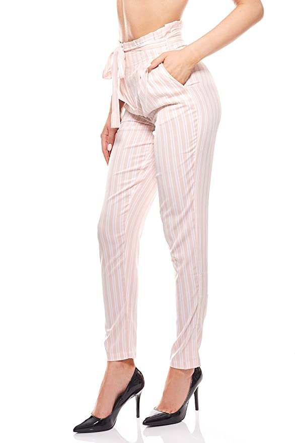 4fbdc5d86701 Noisy may Hose Stoffhose Damen gestreift Business Hose Pink  Amazon.de   Bekleidung