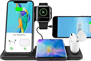 Abitku 5 in 1 Wireless Charger Stand, Wireless Charging Station for Apple Watch Series 5/4/3 & AirPods1/2/Pro & Pencil & iPhone 11 12 Pro Max XR XS Max X SE/Samsung Note 10 S10 / Qi-Certified Phones