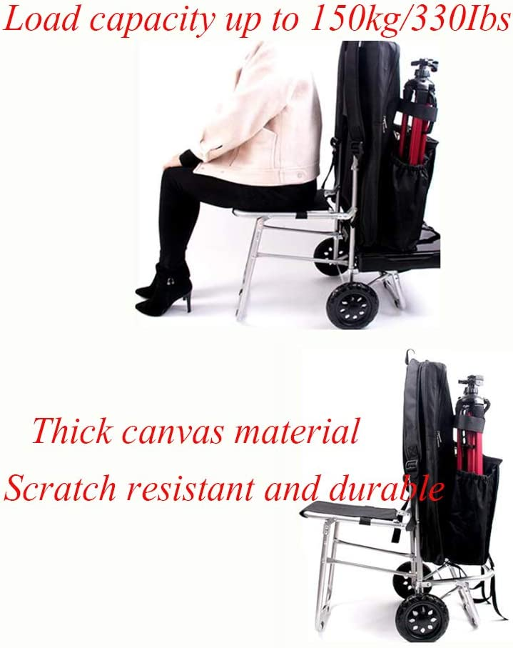 Aluminum Alloy Art cart Foldable Shopping cart Trolley Dolly with Big Wheel Storage Portable Rolling Chair Stair Climber with seat-B 92x35cm 36x14inch