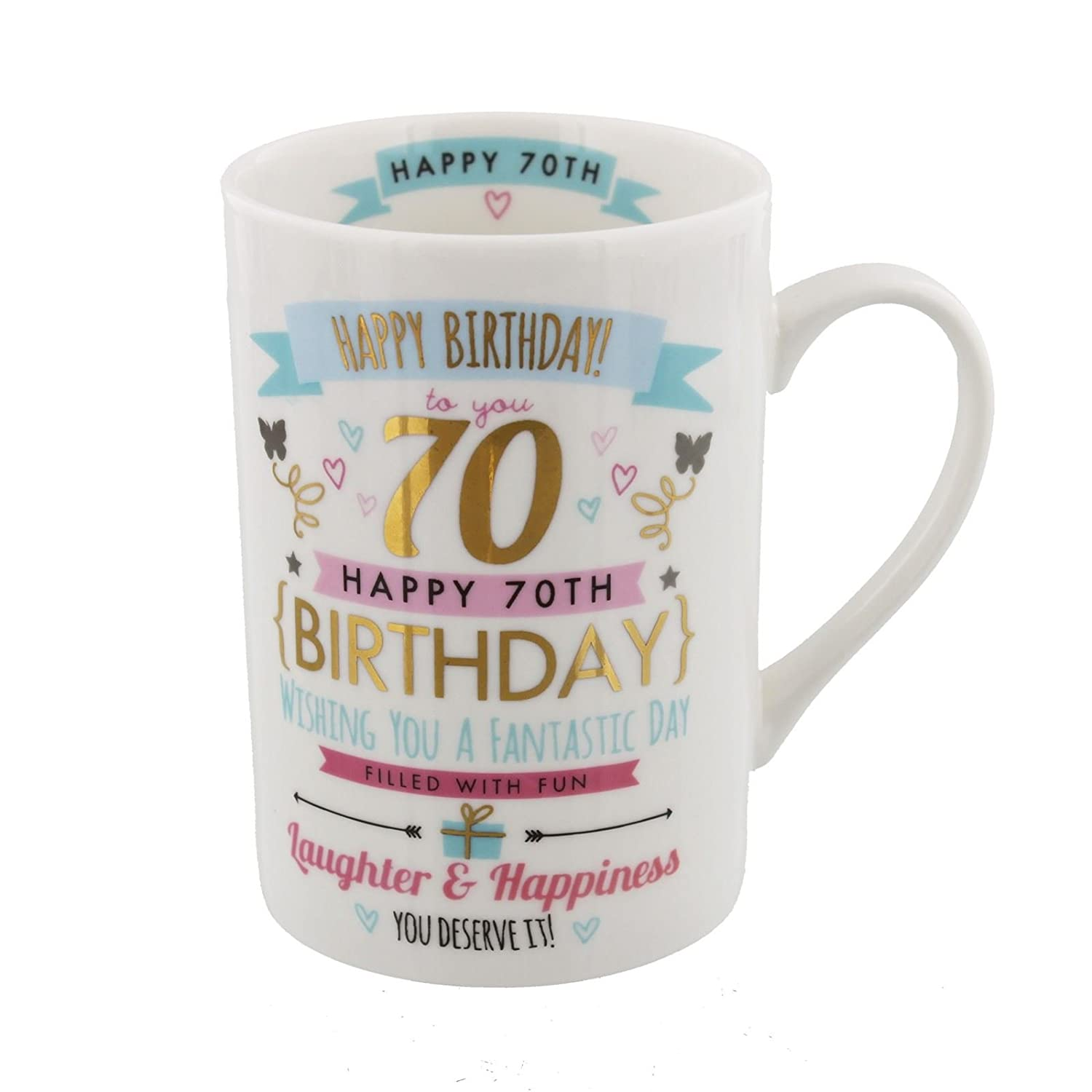 70th Birthday Ladies Pink and Gold Signography Mug CM26070 Widdop Bingham