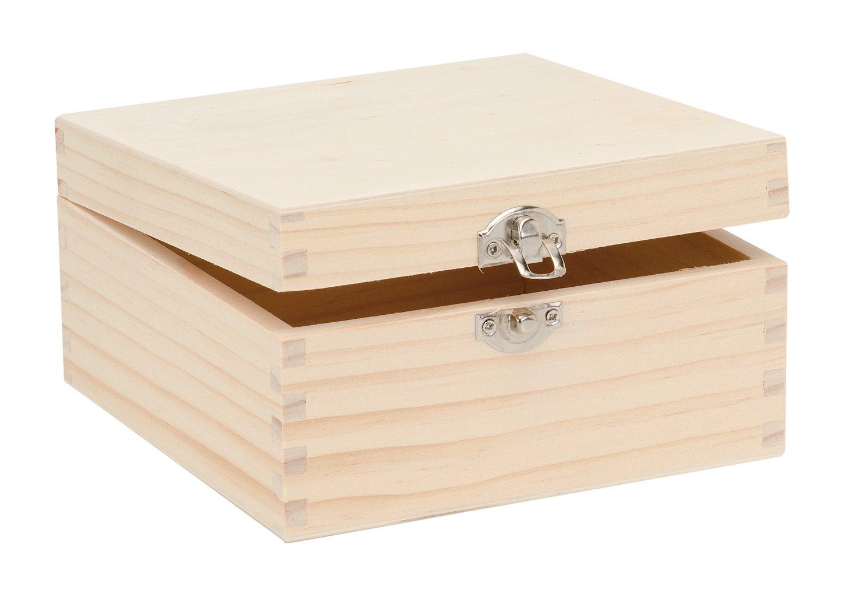 Glorex 6/1682/900/Scatola in Legno di Pino Quadrato 18,5/x 18/x 6,7/cm FSC Mix