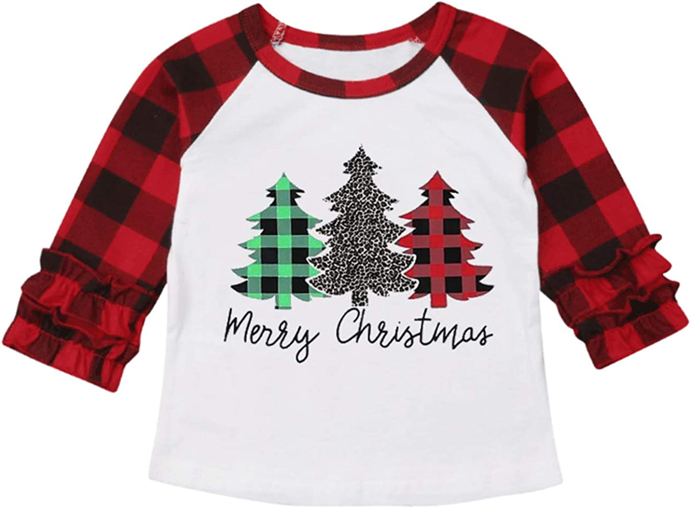 UNIQUEONE Baby Girls Boys Merry Christmas T-Shirt Christmas Truck Tree Print Tops Long Sleeve Raglan Tee
