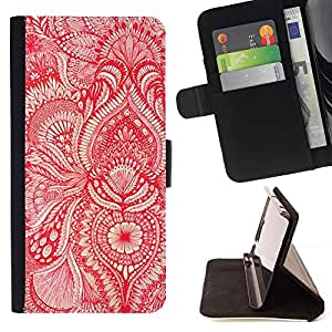 Momo Phone Case / Flip Funda de Cuero Case Cover - Papel pintado rojo floral blanca flor florece - Sony Xperia Z5 Compact Z5 Mini (Not for Normal Z5)