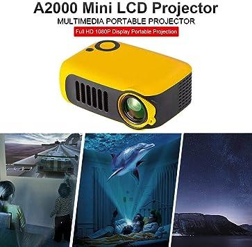 Opinión sobre A2000 Proyector Mini Portátil Proyector de Cine en Casa Lúmenes Altavoces Duales Incorporados HD 1080P HDMI/USB/VGA/AV/Micro SD