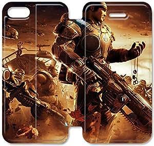 Del Funda del tirón del cuero de la PU del soporte para el Funda iPhone 5 de 5S, Diy 5 5S Engranajes caja del teléfono celular Of War para la caja del cuero del iPad P4A3DE personalizada Funda iPhone Plástico