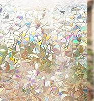 Rabbitgoo Rainbow Window Film 3D No Glue Decorative Window Film Privacy Window Film Anti-UV Window Tint Window
