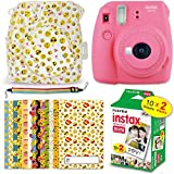Fuji Instax Mini 9 EMOJI Kit - Instant Camera FLAMINGO PINK + Mini 9 EMOJI Clear Camera Case + FujiFilm Mini Film (20 Sheets) + 20 EMOJI Sticker Frames + Rainbow Neck/Shoulder Strap