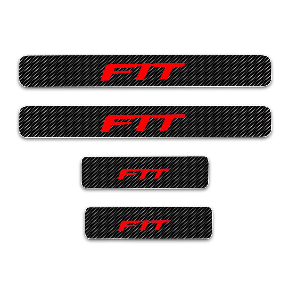 For Honda Fit Door Sill Protector Reflective 4D Carbon Fiber Sticker Door Entry Guard Door Sill Scuff Plate Stickers Auto Accessories 4Pcs Red
