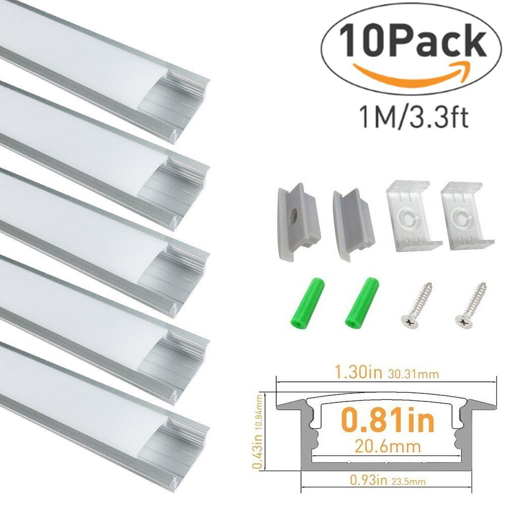 lightingwill 3.3 Ft / 1 m U字内部幅12 mm LEDアルミチャンネルシステムをカバー、エンドキャップとマウントクリップfor Flex /ハードLEDストリップライトInstallations 10x1M-Pack HKALP-U2 B01DM7FRBO 10x1M-Pack|U03-Silver U03-Silver 10x1M-Pack