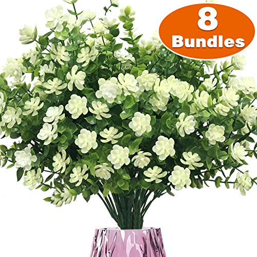 TURNMEON Artificial Flowers, 8 Bundles Faux Outdoor UV Resistant Daffodils Greenery Shrubs Plants Artificial Fake Flowers Indoor Outside Hanging Planter Home Kitchen Garden Decor