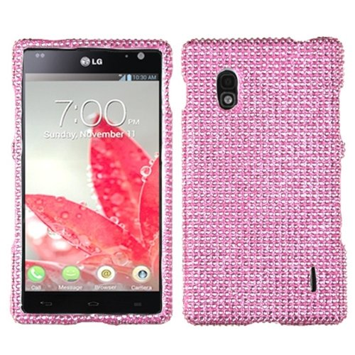 Aimo LGE970HPCDMS004NP Dazzling Diamante Bling Case for LG Optimus G E970 - Retail Packaging - Pink