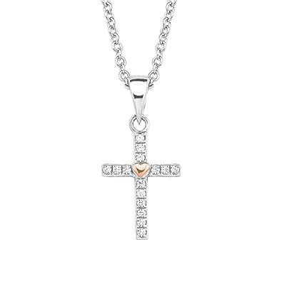 s Oliver jewel Mädchen Erst Kommunion Taufe Kreuz mit Zirkonia Kette Silber 925