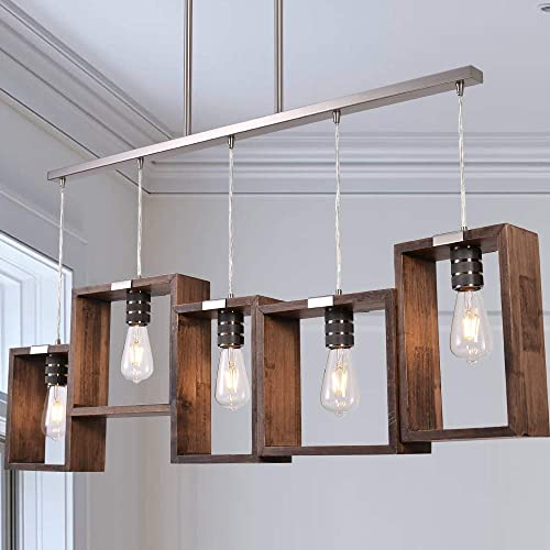 ANTILISHA Wood Farmhouse Chandelier Lighting Rectangle Geometric Mason Jar Light Fixture Pendant Chandelier for Dining Rooms Kitchen Island High Ceiling Brushed Nickel Metal Wide Extra Long 44