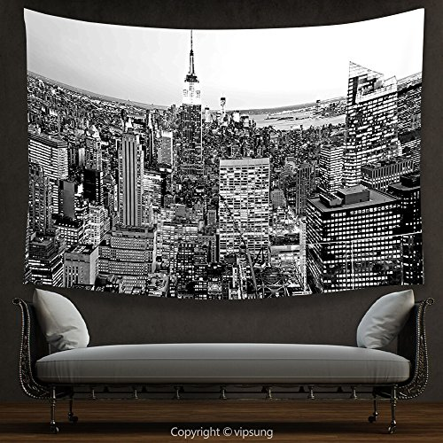 House Decor Tapestry New York Decor by Panorama of Manhattan High Buildings of City Famous Monument USA Black and White Photo Grey Wall Hanging for Bedroom Living Room (Halloween Parade New York)