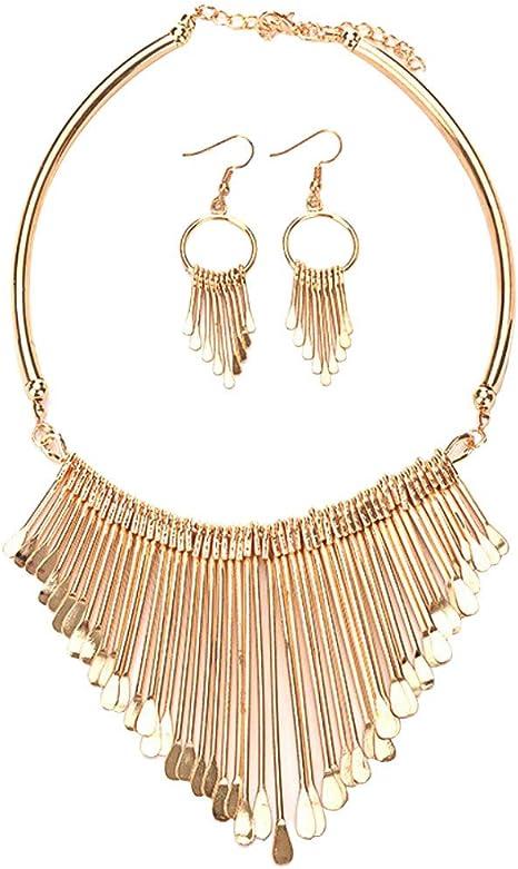 Womens Pearl Beads Necklace Bib Statement Choker Collar Chunky Hook Earring Set