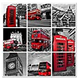 London Landscape Canvas Wall Art,Classical London Telephone Booth and Red Bus Picture Printed on Canvas for Home Wall Room Decal,Ready to Hang On,Modern Artwork Wall Decor