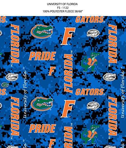 - Florida Gators Fleece Blanket Fabric-University of Florida Fleece Fabric-Camouflage Design-Sold by The Yard