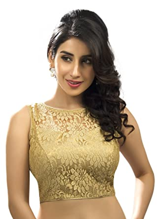 dea18610e68a5f Amazon.com  Bollywood Blouses Women s Designer Fine Zari Floral Pattern Net  Saree Blouse Gold X-Small  Clothing