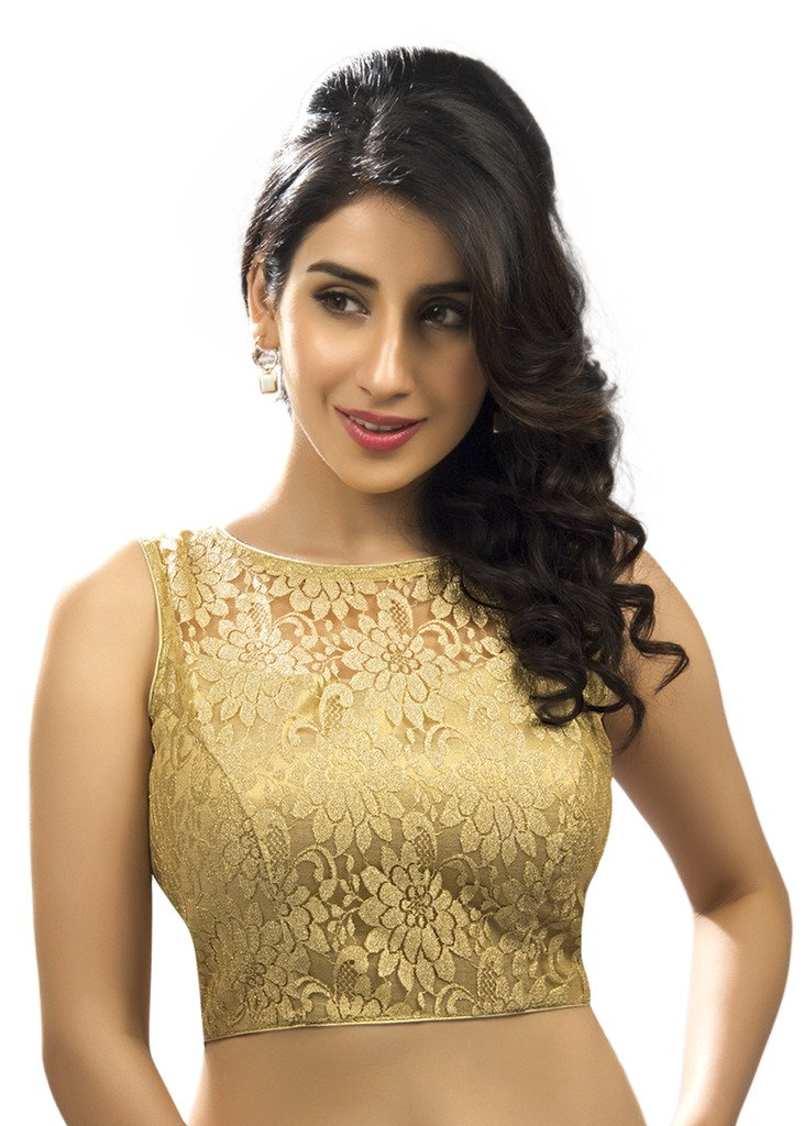 Bollywood Blouses Women's Designer Fine Zari Floral Pattern Net Saree Blouse Gold Medium