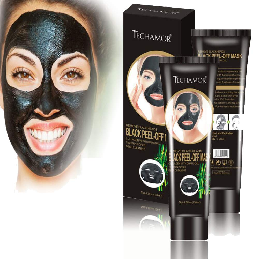Amazon Com Black Peel Off Facial Mask Bamboo Charcoal Peel Off Mask Blackhead Remover Facial Mask Moisturizing Shrink Pores Skin Tightening Purifying Face Oil Reducer Deep Cleaning Mask For Women And Men