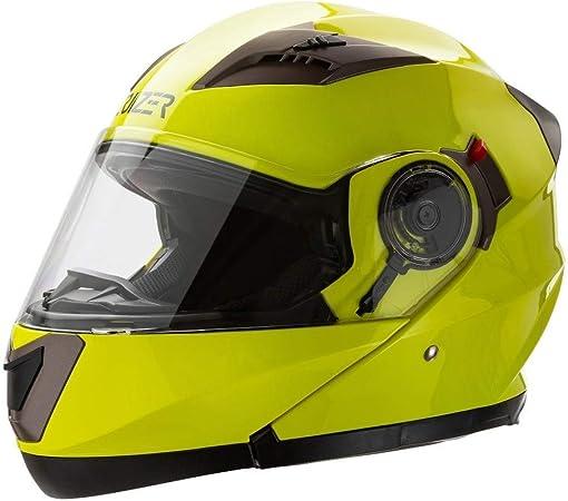 Interior extra/íble y lavable Small Alta Visibilit/à /casco Modular homologado para moto Amarillo Alta visibilidad con Doble visera CRUIZER/
