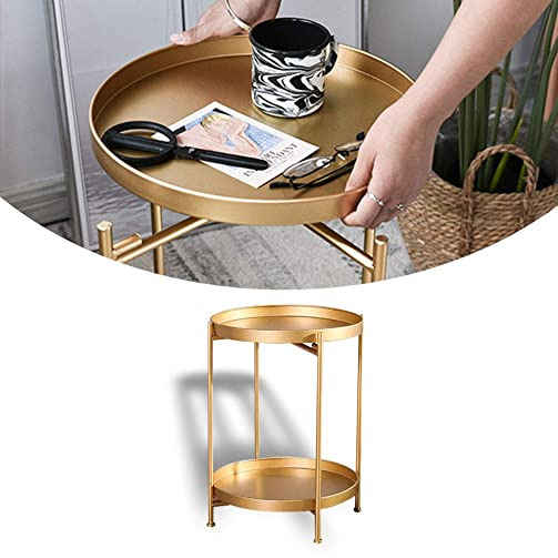 Gold Round Side Table Metal End Table Modern Nightstand Small Coffee Accent Table for Living Room 14 Dx20 H