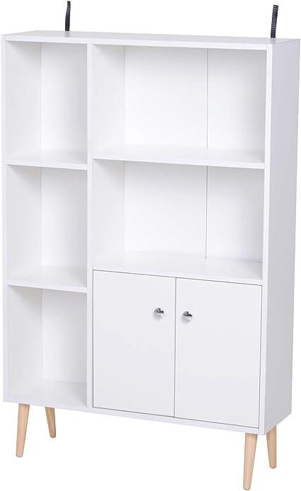 Homcom Libreria Scaffale Design Moderno Salvaspazio Con 2 Porte Da Salotto Pannelli Di Particelle 80 X 23 5 X 123cm Bianco Amazon It Casa E Cucina