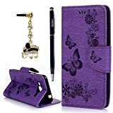 Galaxy J3 Wallet Case, Express Prime Case, Amp Prime Case, YOKIRIN Natural Purple Luxury 3D Handmade Cover Embossed Butterfly PU Leather TPU Soft Bumper with Kickstand Magnetic Credit Card Holders